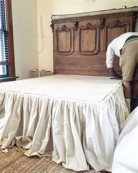 diy bed skirt diy no sew drop cloth bed skirt hometalk