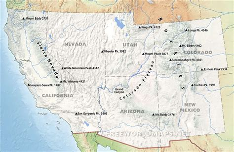usa southwest map southwestern us physical map