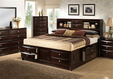 bedroom set with storage bed electra king storage bedroom set lexington overstock