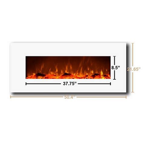 moda houston 50 inch electric wall mounted fireplace