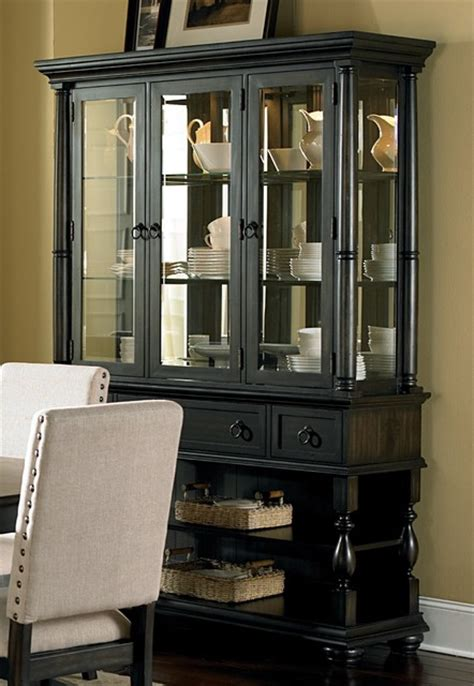 Loraine Antiqued Charcoal Buffet And Hutch Contemporary Contemporary China Cabinets And Buffets