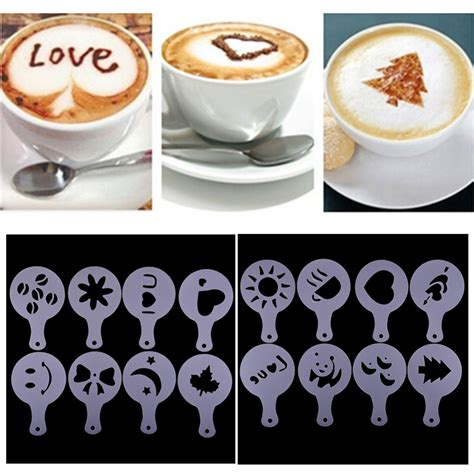 Cetakan Kopi Coffee Printing Cappuccino Latte Mold Model Starbucks 16 16pcs plastic garland mold fancy coffee printing model