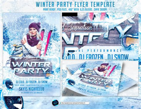 Winter Party Flyer Template By Ranvx54 On Deviantart Winter Flyer Template