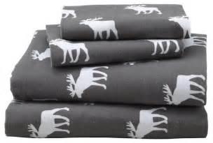 Cabin Bedding Sets Goodnight Moose Flannel Sheet Set Contemporary Kids