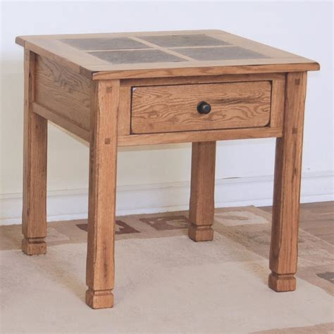 Designs Sedona Rustic Oak End Table With Slate Top
