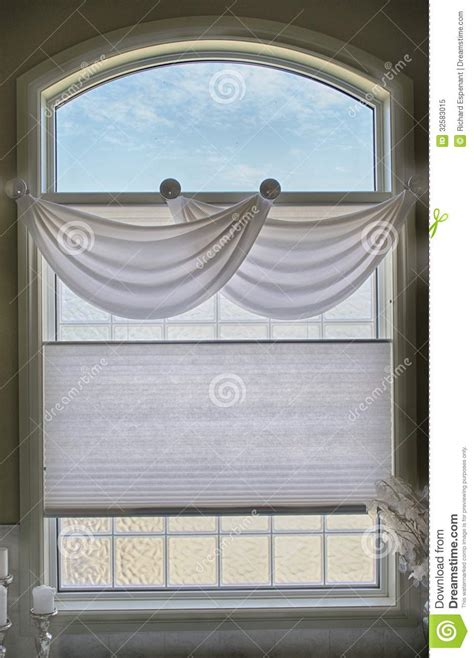 light blue window shades bathroom window and valance royalty free stock photo