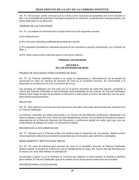 reglamento general de carrera docente reglamento de la ley carrera docente