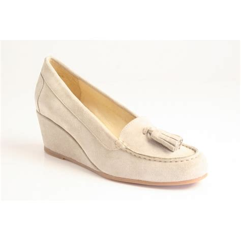 pascucci pascucci wedge heel moccasin with tassel trim in