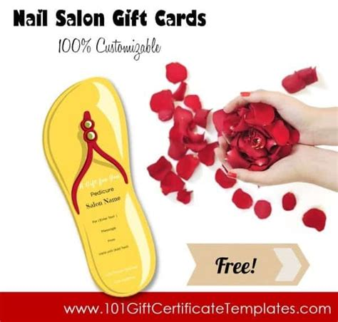 manicure gift card template nail salon gift certificates