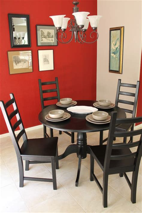 eclectic dining room sets red walls and black dining tables chairs eclectic