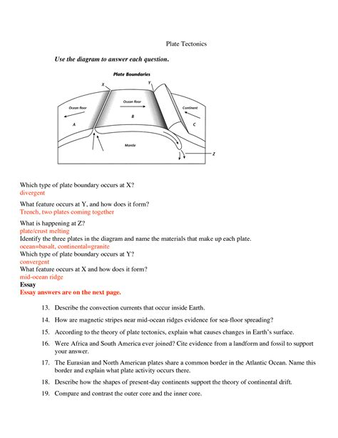 plate tectonics for worksheets www imgkid the