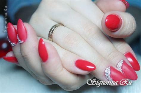 Dizain Nogtei by красный дизайн ногтей гель лаком со стразами и бульонками
