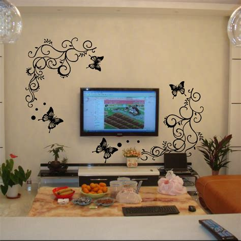 butterfly living room decor black butterfly flowers beautiful living room removable home decor wall sticker ebay