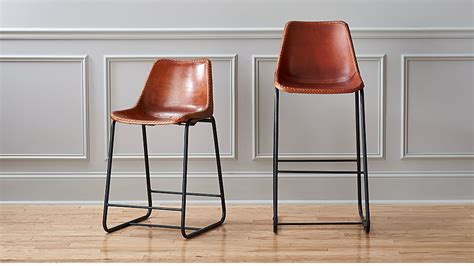 Leather Sling Bar Stool by Roadhouse Leather Bar Stools Cb2