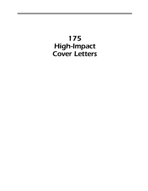 high impact cover letter cover letters
