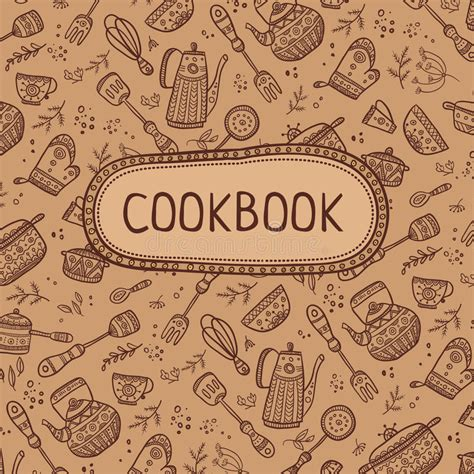 Cookbook Cover With Kitchen Items Stock Vector Image 68247195 Cookbook Cover Design Template