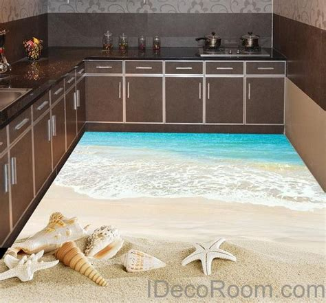 beach wave sand shells  floor decals  wallpaper