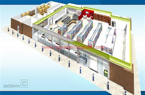 layout toko supermarket desain toko ukuran menengah raja rak minimarket