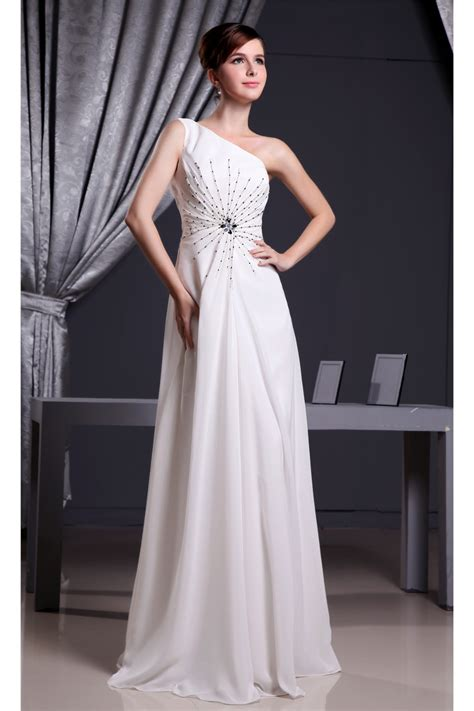 White Floor Length Dresses by A Line One Shoulder Floor Length White Dress