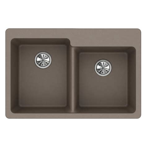 Quartz Kitchen Sinks Elkay Quartz Classic Undermount Composite 33 In Basin Kitchen Sink In Greystone