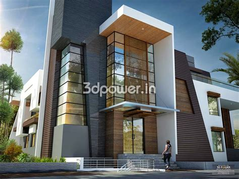 ultra modern design front view of modern bungalow 3d design rendering