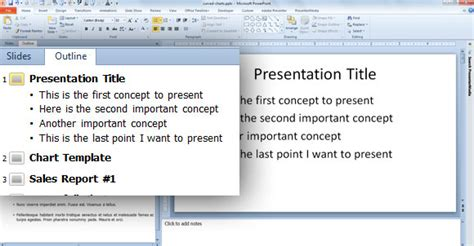 Quickly Create Slides From The Outline Pane In Powerpoint 2010 Powerpoint Outline Template