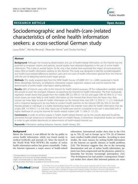 characteristics of cross sectional study sociodemographic and health care related characteristics