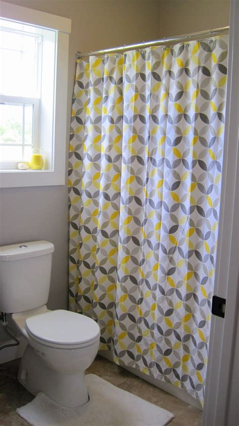 shower curtain ideas with fancy yellow and gray motif