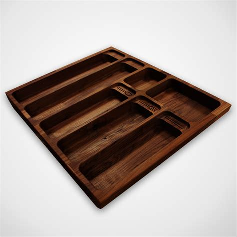 Utensil Drawer Insert by Solid Black American Walnut Cutlery Drawer Inserts