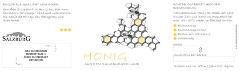 Etiketten Honig by Honig Etiketten Salzburger Land B