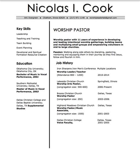 contemporary worship leader cover letter sle cover