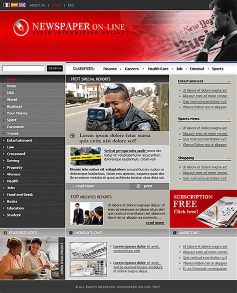 Newspaper Template Website by News Site Images