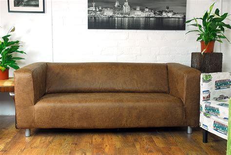 Leather Sofa Covers Ikea by Ikea Klippan 2 Seat Slip Cover Distressed Leather Look Fabric
