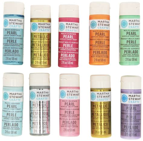 galleon martha stewart crafts pearl metallic acrylic craft paint set 2 ounce 32310 10