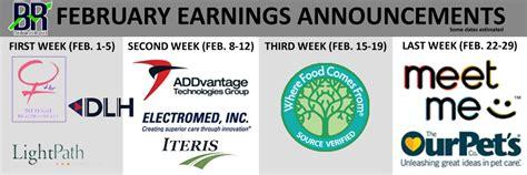 Earnings Release Calendar Earnings Calendar February 2016 The Bowser Report