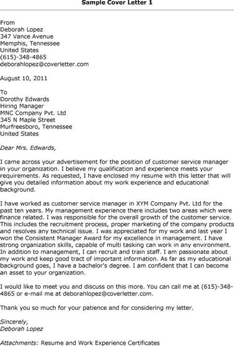Resume Cover Letter Customer Service Manager Cover Letter Exles Customer Service Manager