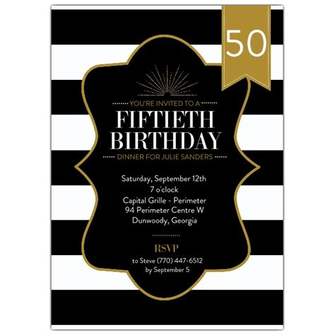 birthday stripes black  gold invitations paperstyle