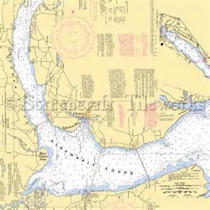 Coastal Kitchen Decor - north carolina edenton albemarle sound black walnut nautical chart decor