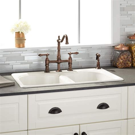double bowl farmhouse with backsplash 32 quot berwick bisque double bowl cast iron drop in kitchen
