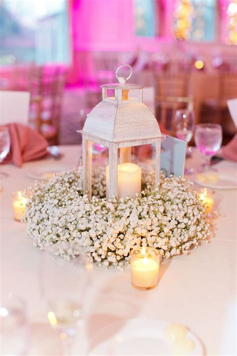 baby s breath wreath centerpiece with lantern and candles