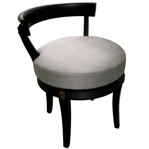 Hollywood Regency Style Black Swivel Vanity Stool at 1stdibs