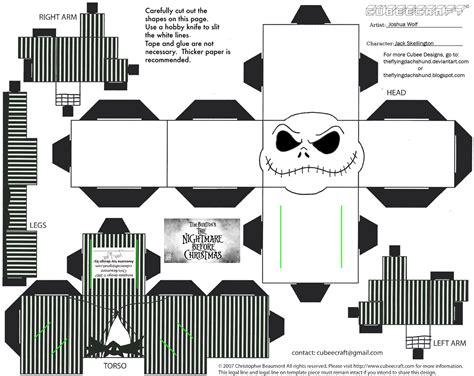 Skellington Papercraft - xmas9 skellington cubee by theflyingdachshund on