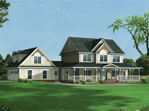 two story farmhouse plans farmhouse style two story house has garage with dormers on