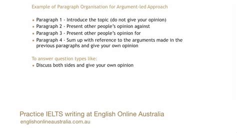 How To Write An Essay Ielts by Ielts Writing Lesson 8 Task 2 Opinion Essay Argument Led Approach