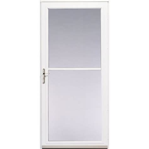 Pella Patio Doors Lowes Shop Pella White 3800 Series View Safety Door At Lowes