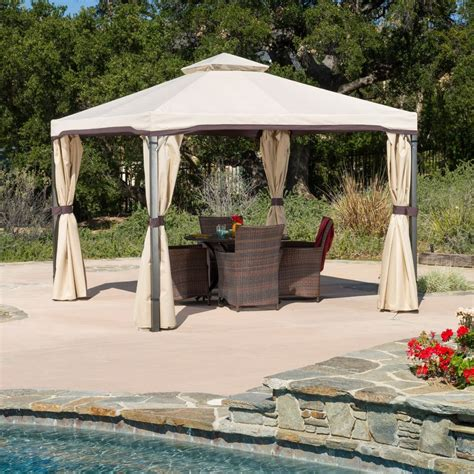 Patio Furniture Gazebo Outdoor Patio Furniture Iron Canopy Gazebo W Net Drapery Ebay