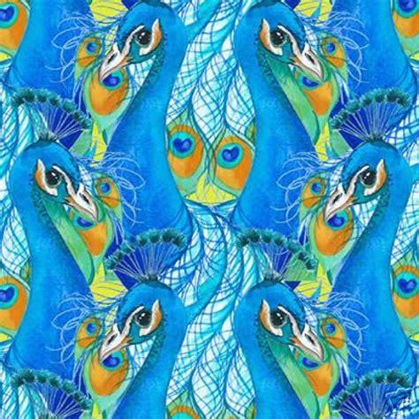 peacock illusion asia bird feather eye quilt fabric cotton