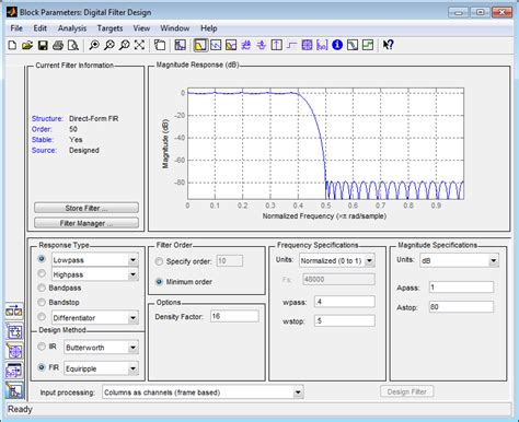 ui pattern filter design and implement digital fir and iir filters simulink