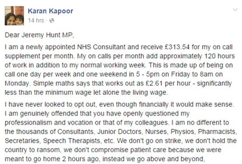 Resignation Letter Minimum Wage Doctor Blasts Health Hunt About Being Paid 163 2 61 An Hour Daily Mail