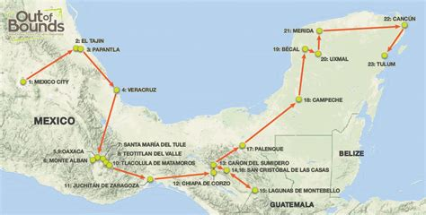 map southern mexico colonial cities mayan ruins of southern mexico